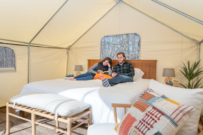 Canvas tents come with bedding and linens at the new Off Map campground near South Haven.