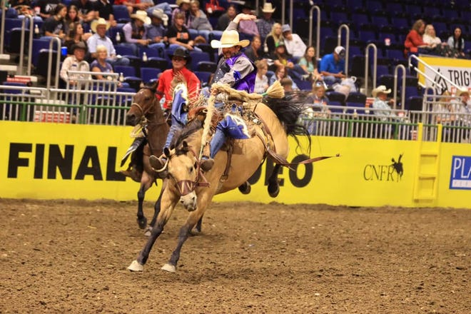 Saddle bronc rider Jake Barnes captured 10thin the average despite no score in the short go, scoring a 77.5, a 68.5 and a 67.5 on his first three head.
