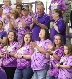 Pictured (left to right) Lauren, Kristin, and Shelly Ream, Lisa Effner, and Maddy Harden at the pep session.