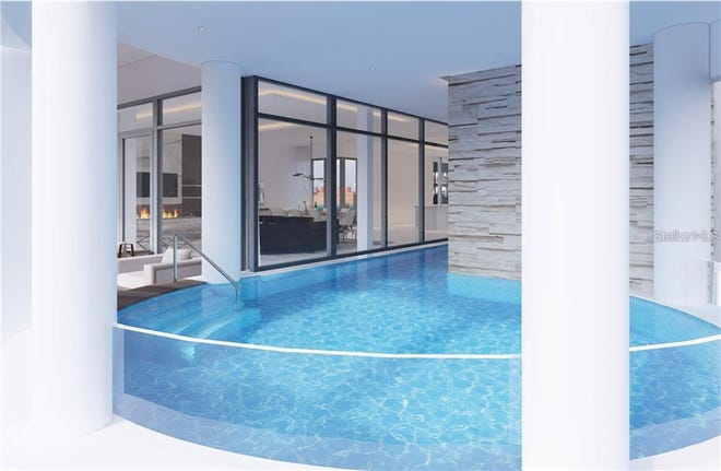 Each of the four condos at the Beacon, in downtown Sarasota, will have its own indoor pool.