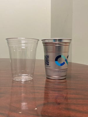 The City of Savannah is seeking businesses interested in piloting all-aluminum to-go cups, right, in place of plastic.