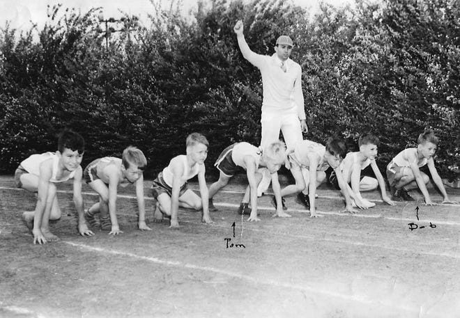 Mascot Race of First Graders at the 1943 Shawnee Little Olympics in Athletic Stadium. The starter was Riley Williamson. The runners (l-r) D.W. Sikes, Carl Wynn, Virgil Boardman, Tom Currie, Doyle Williams, James Hollis, & Bob Currie. The race was won by Boardman, with Sikes coming in second, Tom Currie third, and Bob Currie fourth.