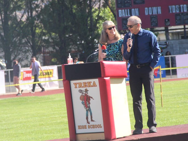 Retiring teachers Sue and Mark Freudenburg were the keynote speakers at Yreka High School's 2021 graduation ceremony on June 12, 2021 at Miner Stadium.