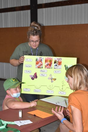 Only 5 years old, Cayden Brody of Kewanee is too young to be in 4-H, but he is enrolled in the Cloverbud program for future 4-H'ers. On Saturday, June 19, he showed his  sweet pea poster to judge Vicky Wyffels, right, of Geneseo during 4-H general projects judging in the merchants building on the Henry County fairgrounds in Cambridge.(PHOTO BY MINDY CARLS)