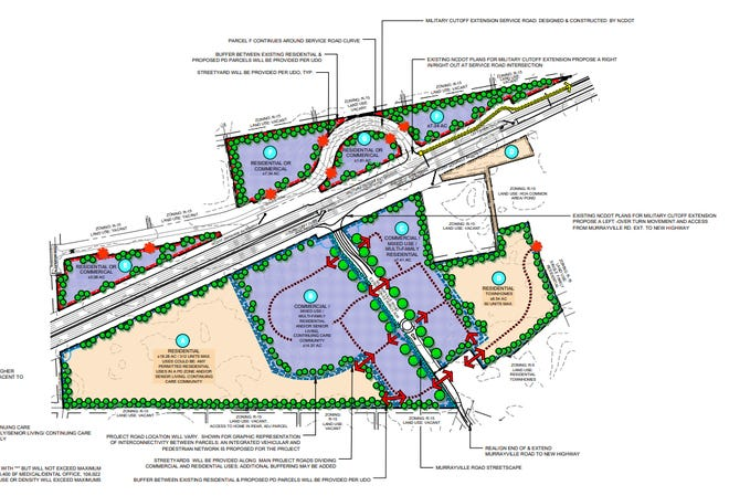 Plans for a development along the Military Cutoff Extension. Site plans include space for residential townhomes and commercial or mixed use development.