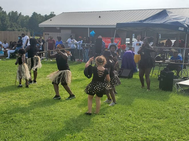 Young dancers are shown performing at Pamlico County's Juneteenth celebration held Saturday at Alliance Recreation Park