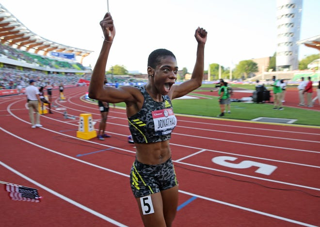 Former Doherty High track standout Wadeline Jonathas celebrates making the U.S. Olympic team in the women's 400 meters Sunday night at the Olympic Track & Field Trials at Hayward Field in Eugene, Oregon.
