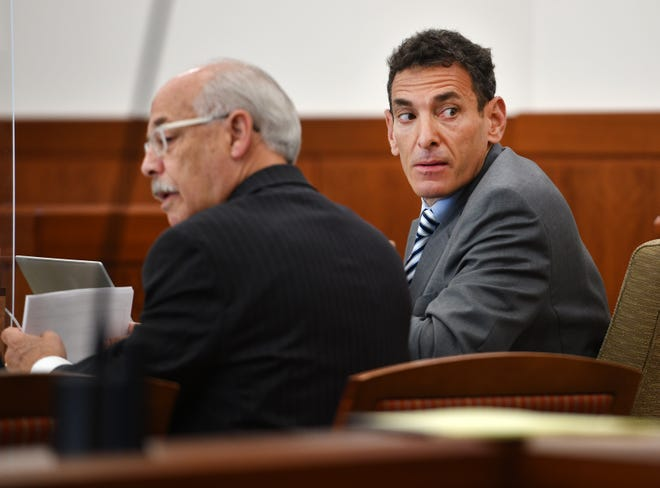 Blake Rubin, right, at the start of his trial Monday in Worcester Superior Court. Seated next to Rubin is his lawyer, Peter L. Ettenberg.