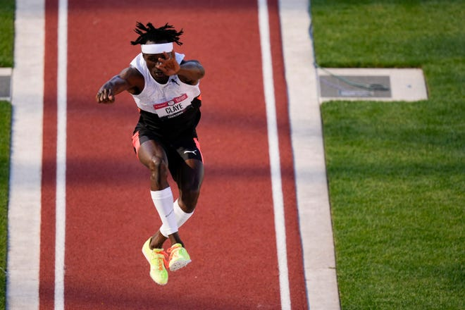 Former UF standout Will Claye competes Saturday during the prelims of men's triple jump at the U.S. Olympic Track and Field Trials in Eugene, Ore.