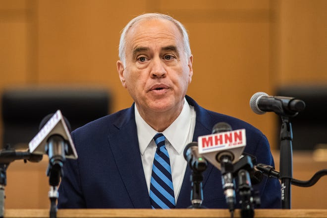 New York State Comptroller Thomas DiNapoli talks during a press conference in Goshen, NY in this file photo from Monday, June 21, 2021.