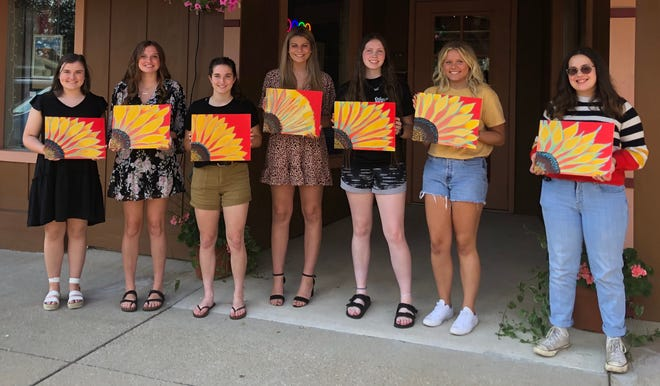 The 2021 Orange County Queen and Jr. Miss candidates enjoyed a fun afternoon at Alahna Judah Art, participating in a Cookies and Canvas Event. They are, from left to right, Libby Padgett, Molly Parsley, Allie Cooper, Lili Seals, Emily Qualkenbush, Monica Robinson and Ellie Carr.