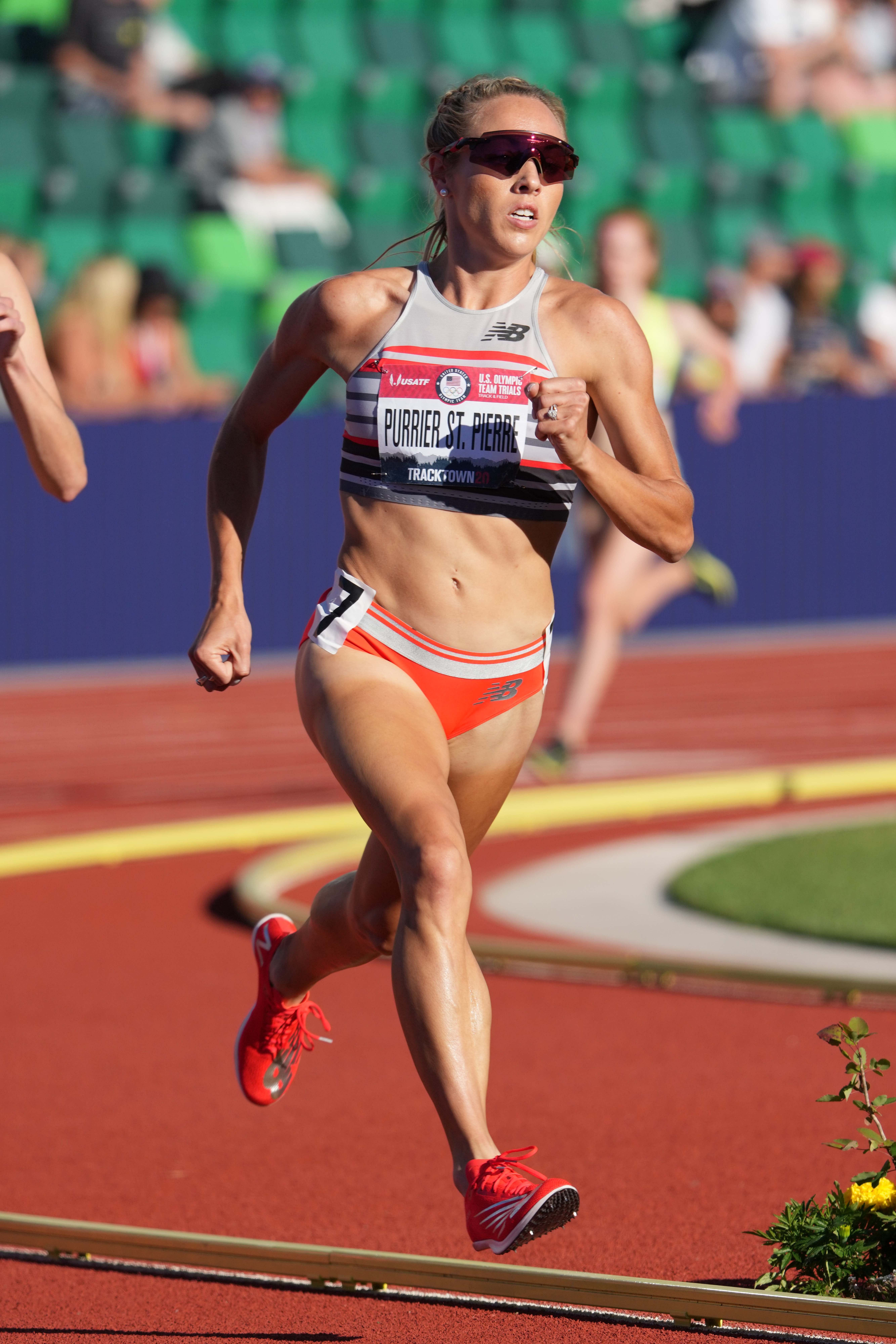 Elle Purrier St. Pierre wins women's 1,500m semifinal in 4:09.18  during the US Olympic Team Trials at Hayward Field.