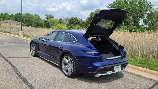 Hatchback. The 2021 Porsche Taycan Turbo Cross Turismo gains hatch utility over sibling Taycan sedan.