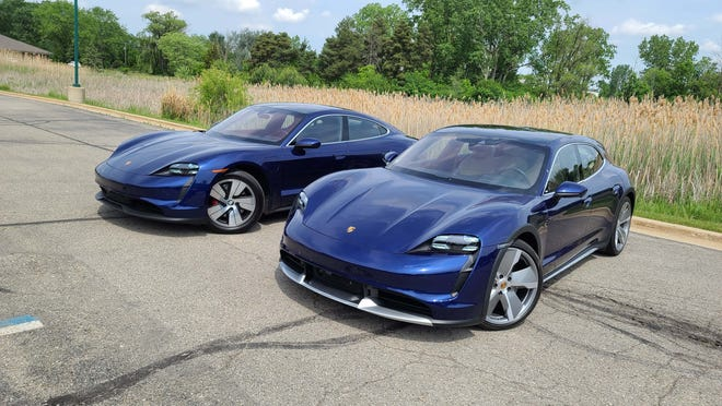 The 2021 Porsche Taycan Turbo Cross Turismo, right, is the hatchback version of the Taycan sedan, left, and the German performance brand's second EV.
