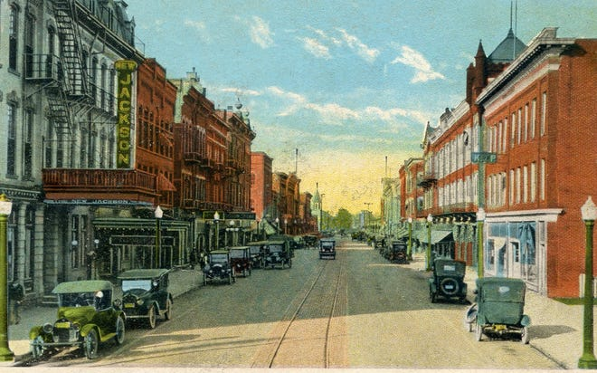A postcard of Front Street in 1920.