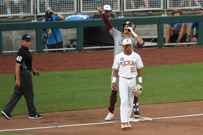 Mississippi State outfielder Brad Cumbest celebrates a run-scoring triple as Texas infielder Cam Williams looks on at TD Ameritrade Park on Sunday.