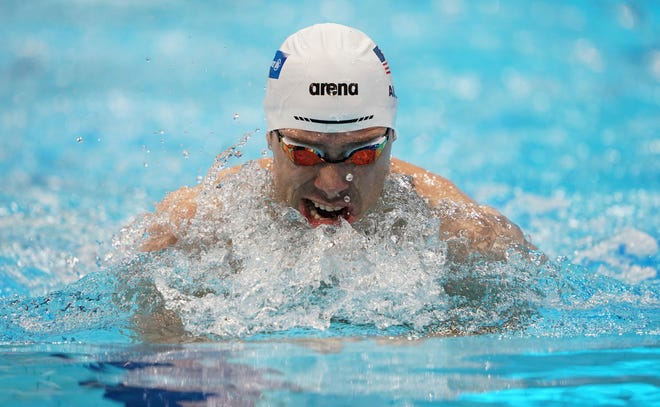 2019 World Para Swimming Allianz Championships - Day Five - London Aquatic Centre. USA's Evan Austin during the Men's 200m Individual Medley on day five of the World Para Swimming Allianz Championships at The London Aquatic Centre, London. Picture date: Friday September 13, 2019. See PA story SWIMMING London. Photo credit should read: Tess Derry/PA Wire URN:45228539 (Press Association via AP Images)