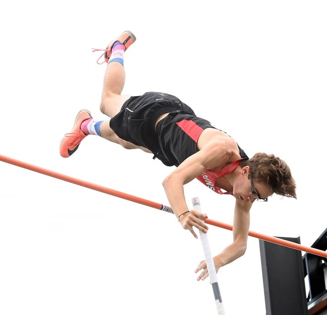 Liberty Union senior Jimmy Rhoads capped off a record-breaking career by finished as state runner-up in the Division II pole vault. Rhoads is the 2021 Eagle-Gazette Male Track and Field Athlete of the Year.