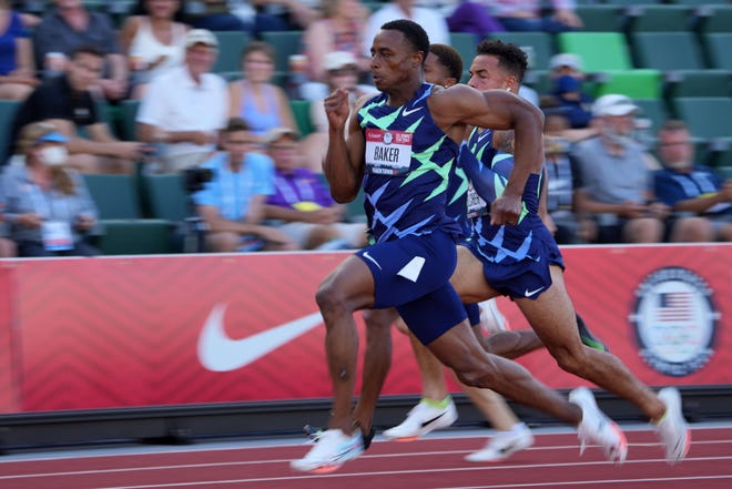 Jun 20, 2021; Eugene, OR, USA; Ronnie Baker runs in a 100m semiifinal during the US Olympic Team Trials at Hayward Field.