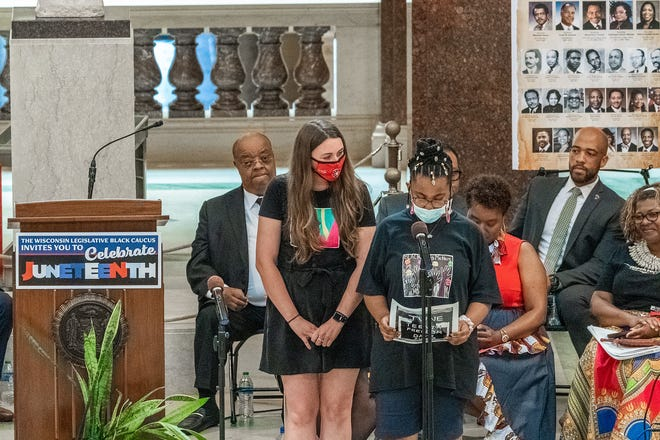 Karma, a fourth grader at Atwater Elementary in Shorewood, speaks as part of a Juneteenth celebration at the Wisconsin State Capitol on June 18. Karma is one of 22 fourth graders who helped petition to make Juneteenth a federal holiday.