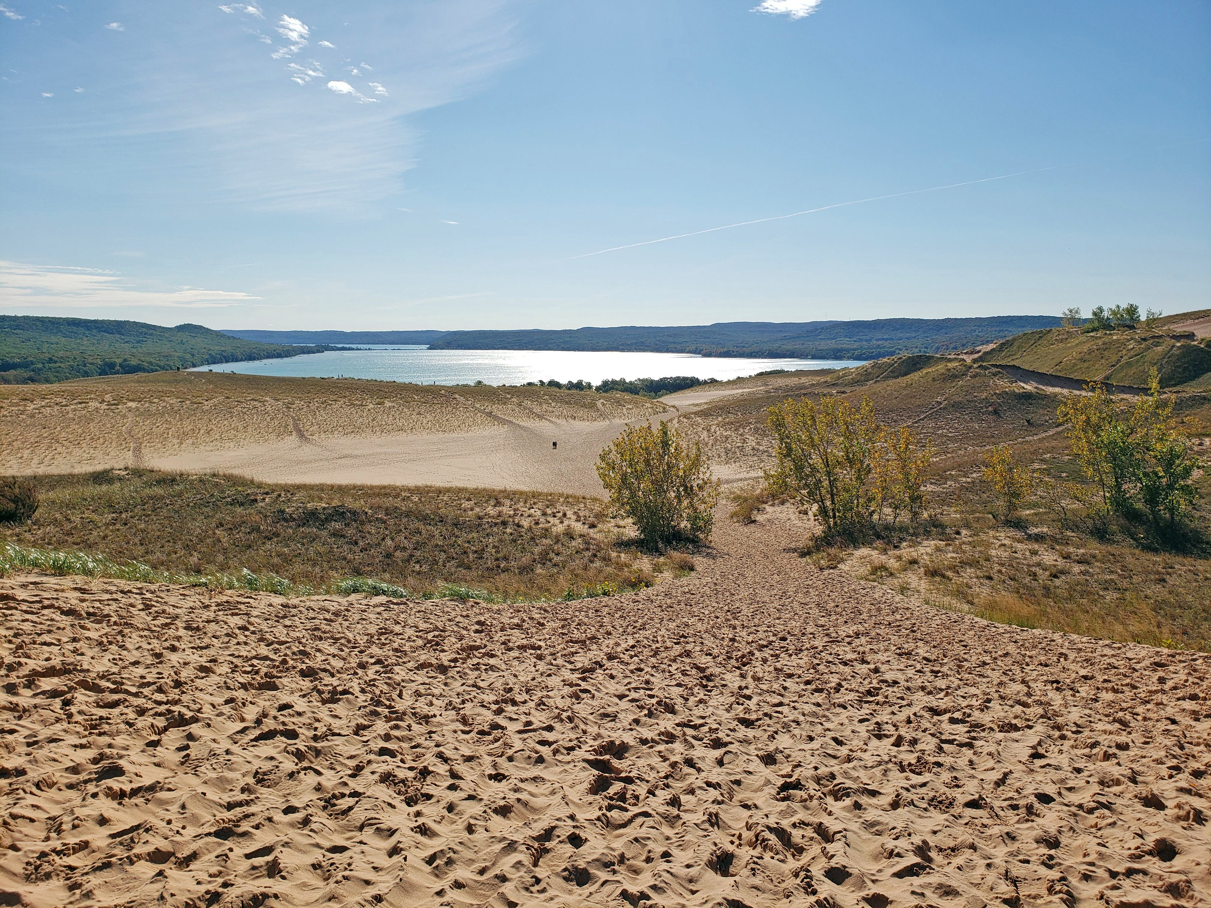 The Dune Climb Trail at Sleeping Bear Dunes National Lakeshore provides a view of Glen Lake to the east.