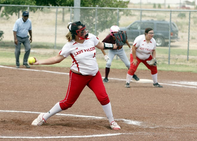 Loving's Faith McDonald pitches in the A/2A softball state tournament. In the semifinals McDonald struck out 10 Capitan Lady Tigers en route to a 10-0 Lady Falcon victory.