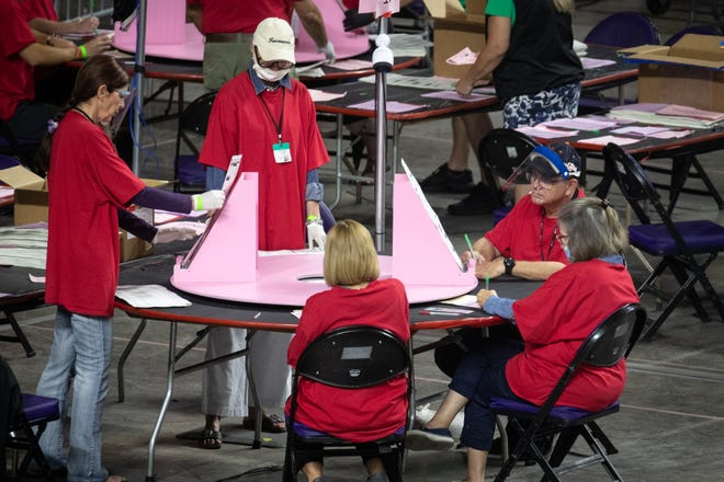 Maricopa County ballots from the 2020 general election are examined and recounted by contractors hired by the Arizona senate, June 21, 2021, at the Veterans Memorial Coliseum, Phoenix.