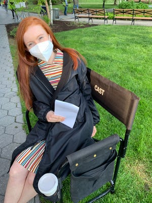 """West York High School student Zoey Deel on set of NBC's """"The Blacklist"""" in May. The 17-year-old actress played a younger version of the character Katarina Rostova. Submitted by Zoey Deel."""
