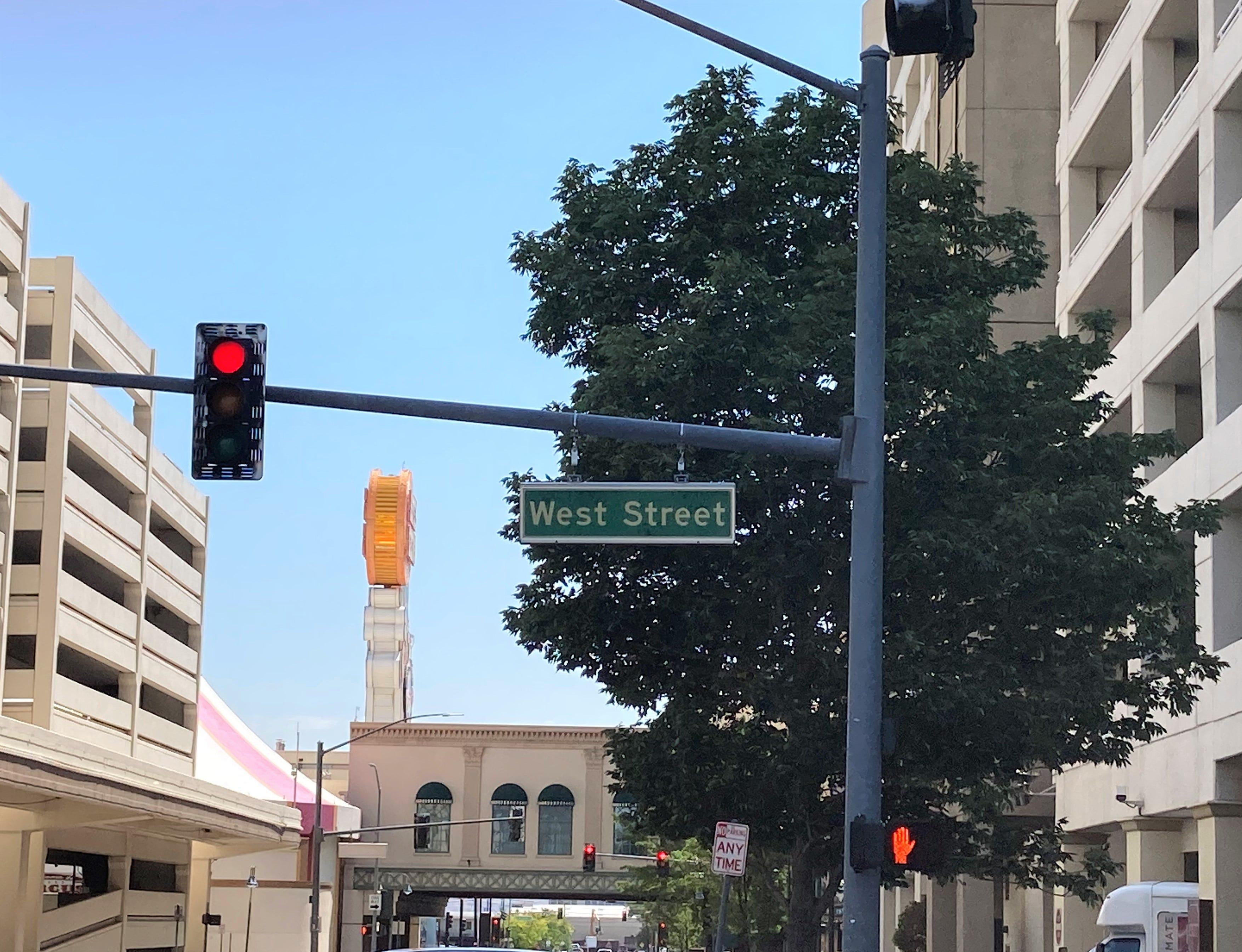 West Street in downtown Reno. Photo taken June 21, 2021.