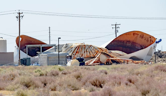 A large water tank ruptured Monday, June 21, 2021 north of West Hills College in Lemoore.
