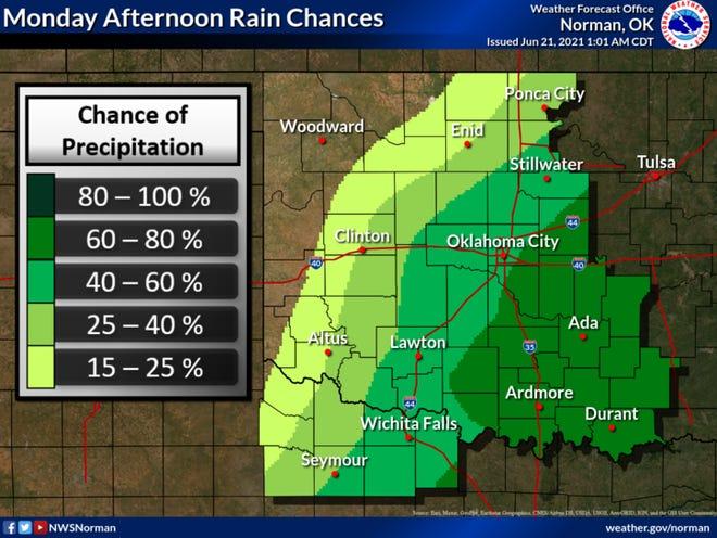 Monday rain chances