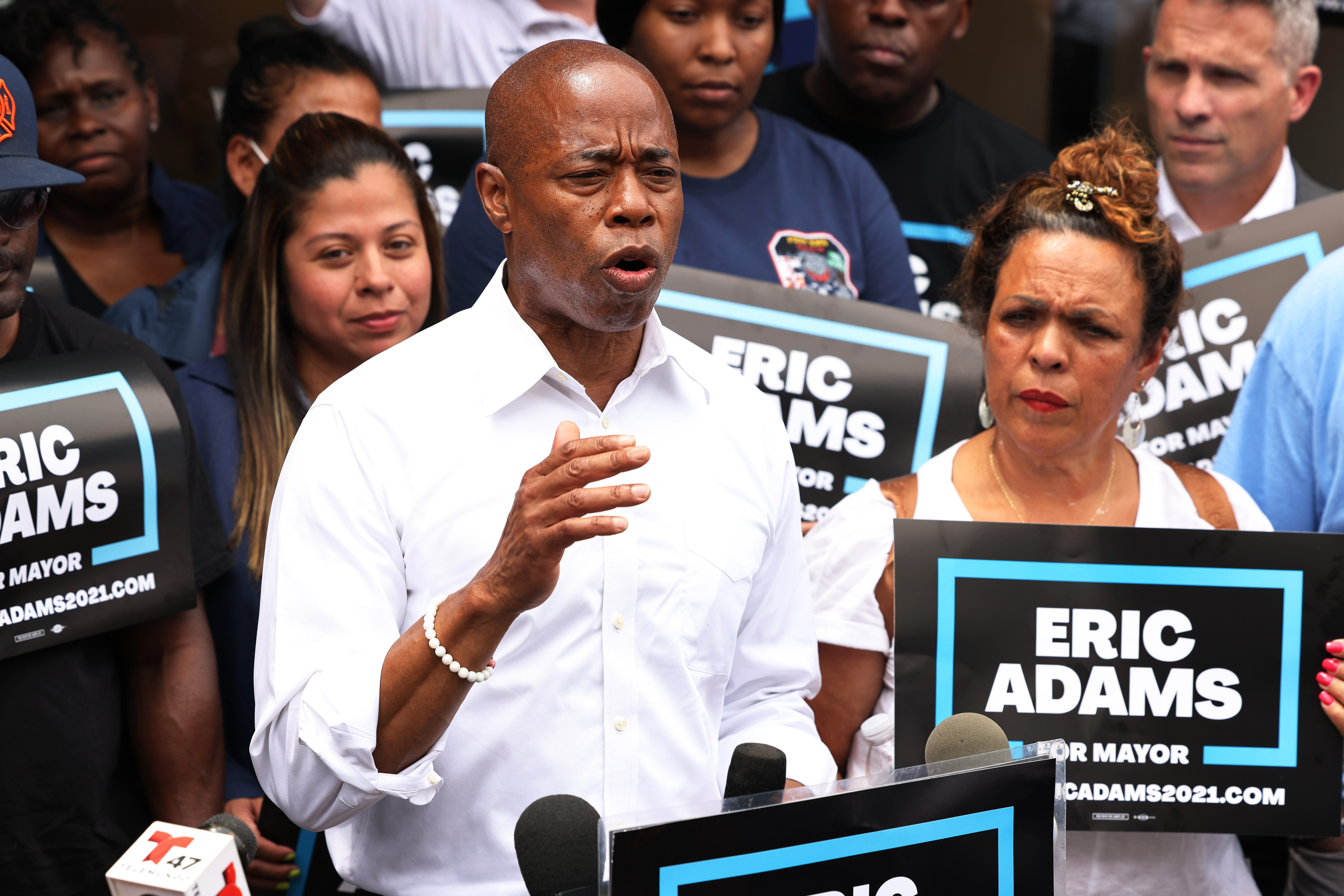 New York City mayoral candidate Eric Adams speaks during a Get Out the Vote rally on June 21, 2021.