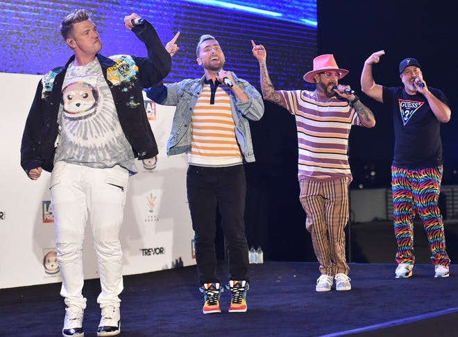 Nick Carter, from left, Lance Bass, AJ McLean and Joey Fatone perform at Bingo Under the Stars on Friday, June 18, 2021, at The Grove in Los Angeles.