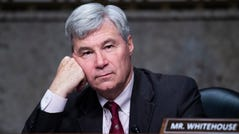Sen. Sheldon Whitehouse, D-R.I., listens during the the Senate Judiciary Committee confirmation hearing in Dirksen Senate Office Building in Washington, Wednesday, April 28, 2021. Ketanji Brown Jackson, nominee to be U.S. Circuit Judge for the District of Columbia Circuit, and Candace Jackson-Akiwumi, nominee to be U.S. Circuit Judge for the Seventh Circuit, testified on the first panel. (Tom Williams/Pool via AP)
