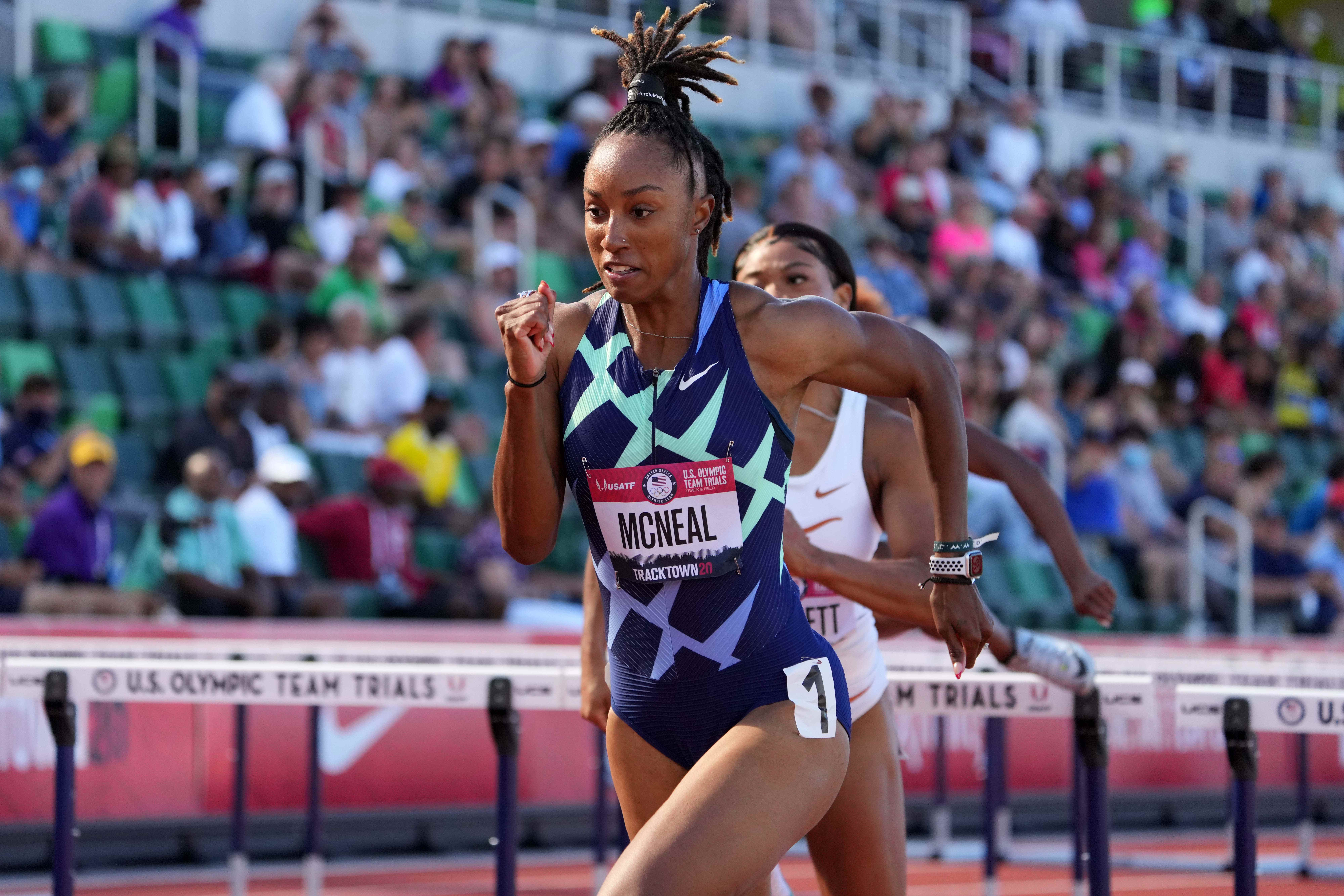 Brianna McNeal finishes second in 100-meter hurdles. Will she be cleared to race in Olympics?