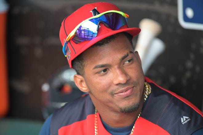 Tampa Bay Rays shortstop Wander Franco (40) sits in the dugout before the 2019 MLB All Star Futures Game at Progressive Field.