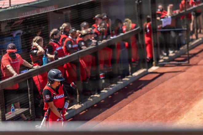 Georgia infielder Savana Sikes (1) during a game against Arkansas at the Jack Turner Softball Stadium in Athens, GA. on Sunday, Apr. 18, 2021. (Photo by Mackenzie Miles)