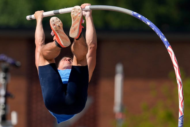 Matt Ludwig competes during the finals of the men's pole vault at the U.S. Olympic Track and Field Trials Monday, June 21, 2021, in Eugene, Ore. (AP Photo/Charlie Riedel)