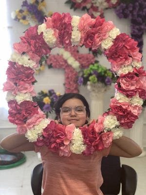 11-year-old Keira Sandoval floral designer at Flowers by Connie Lee
