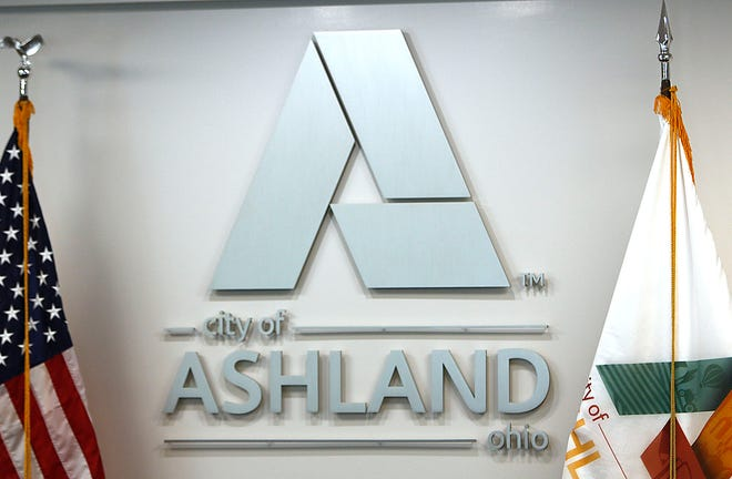 City of Ashland logo in the City Council chambers of the Municipal Building on Monday, June 21, 2021. TOM E. PUSKAR/TIMES-GAZETTE.COM