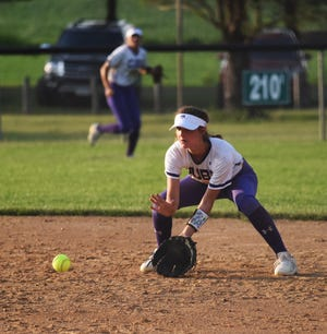 Nevada second baseman Briar Crain gets ready to field a ground ball during the seventh inning of the Cubs' 14-3 victory over Colo-NESCO June 17 at the Kiwanis Invitational in Roland.