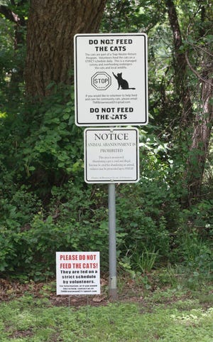 Signs in the area where a feral cat colony lives at Riverside Park asks visitors to refrain from feeding the cats.