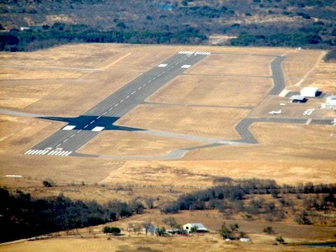 The Brownwood airport is pictured in an aerial view. The airpo