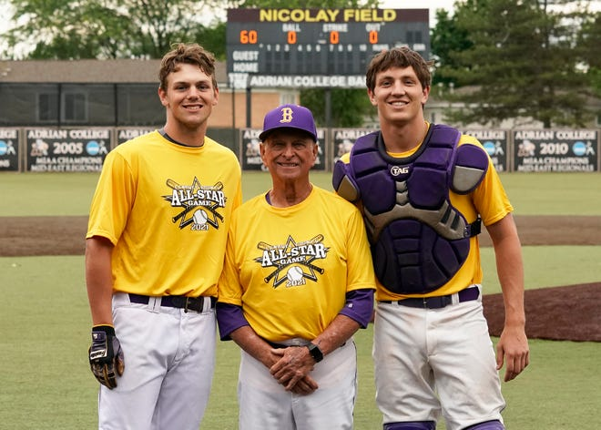 Blissfield's Gavin Ganun (left), Larry Tuttle (center) and Zack Horky (right) pose for a picture during Monday's Lenawee County Senior All-Star Baseball Game at Nicolay Field. [Telegram photo by Mike Dickie]
