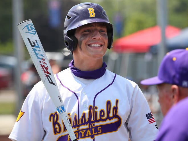 Blissfield's Zack Horky smiles before he walks to the plate during the Division 3 regional final game at Grosse Pointe Woods University Liggett