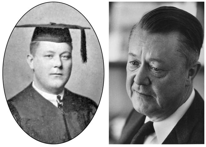 Calvin Bryce Hoover as a senior at Monmouth College in 1922, and as a renowned Duke University economist in the 1960s.