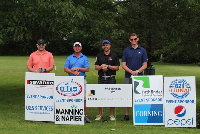 Pictured are the winners of Alfred State's seventh annual Pioneers Drive for the Development Fund golf tournament. From left to right are John Langdon, Kevin Donaghue, Tim McArdle, and Jason Hanon.