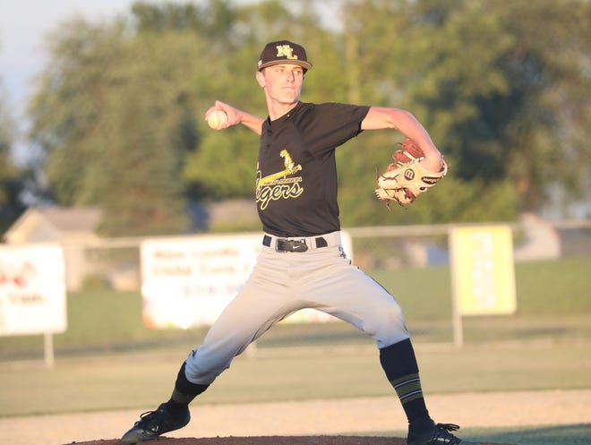 New London's freshman  Richey throws a pitch in the in the Tigers 8-7 win over the Danville Bears.