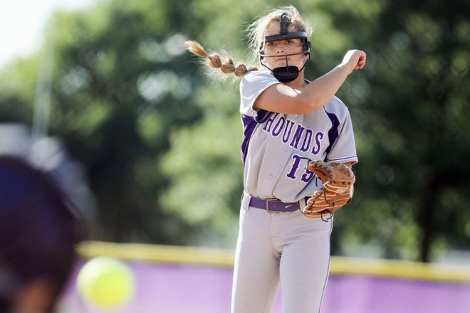 Burlington High School's Saydee Plummer (19) delivers a pitch during the first game of a double header against Fairfield High School Monday June 21, 2021 at Burlington's Wagner Field.