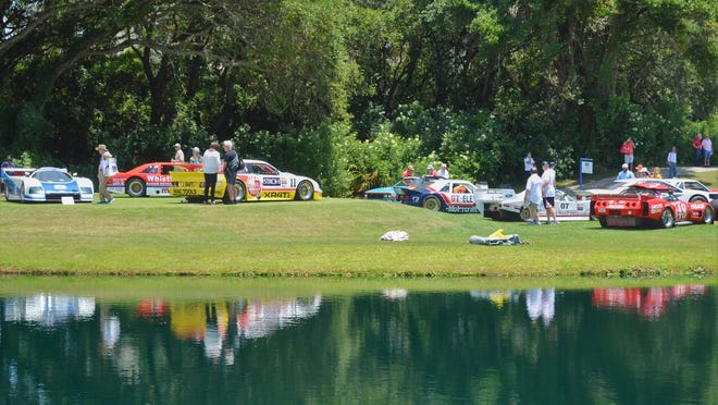 Just some of the former race cars of 2021 Amelia Island Concours d'Elegance honoree Lyn St. James on display during the May event.